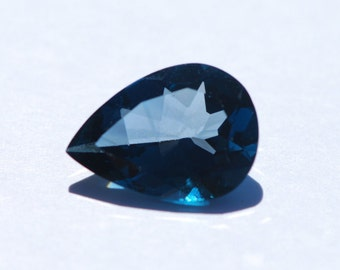 Faceted London Blue Topaz, Pear Shaped, 18.25 x 13 mm, Excellent Cut and Polish, 11.95 ct