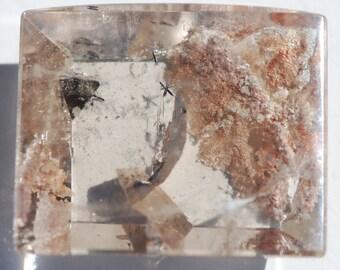 OOAK Lodolite Included Quartz Domed Rectangle, Natural Crystal Quartz, Approximately 38 x 31.5 mm, High Dome, excellent polish