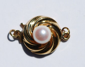 Pearl Safety Clasp, 14kt yellow gold with pearl, Mostoloni Brand, stamped, 16 x 11mm, C4596