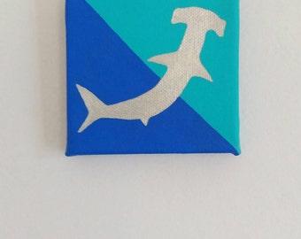 Original hammerhead shark painting in acrylics on canvas 10x10cm