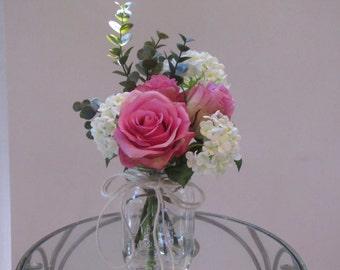 Beautiful  Silk Flower Arrangement-pink rose,white hydrangea  in  glass Mason Jar with Faux Water.