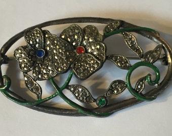 Pretty 1940's Floral Marcasite pin