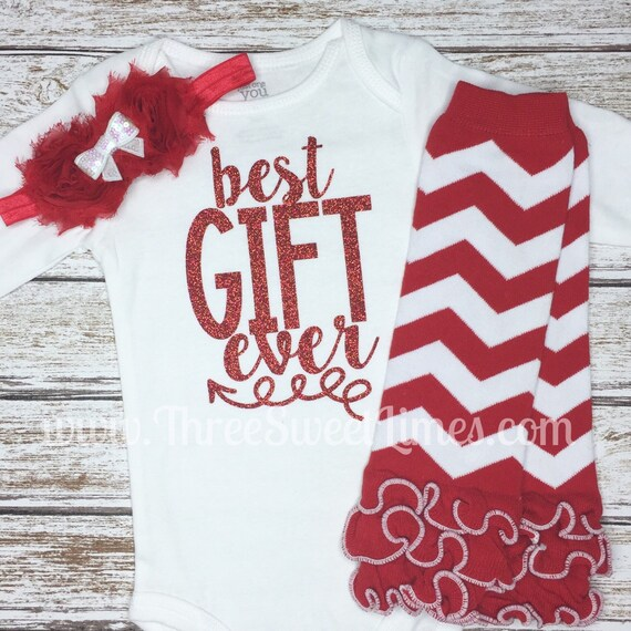 Good Baby Christmas Gifts: Best Gift Ever Baby Girl Christmas Outfit By ThreeSweetLimes