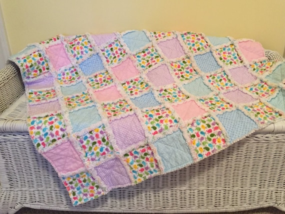 Baby Girl Flannel Rag Quilt, Quiltsy Handmade