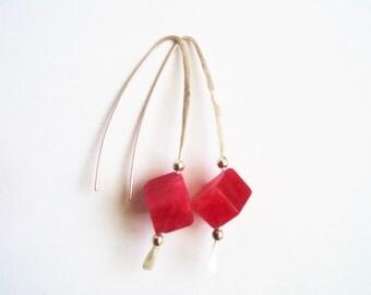 Ruby Earrings, Handmade Ruby Earrings, Ruby and SS Earrings, Ruby and Sterling Earrings, natural ruby, hammered SS, 58mm drop