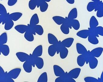"""100 Blue Butterfly Die Cuts (3"""" wide), Paper Butterflies, Butterfly Wish Tag, Blue Butterfly Tags, Butterfly Wedding Decor, Baby Boy Shower"""
