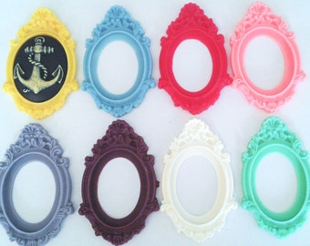 Large fancy ornate kawaii resin colourful mount settings for 40mm x 30mm approx cabochons cameos UK decoden supplies