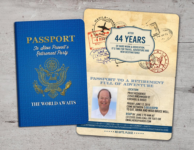 Retirement Party Invitation Bon Voyage travel passport