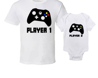 "T-Shirt & Onesie Best Selling Gift Set -  ""Player 1 and Player2""  Unique Gift Idea For The Whole Family"