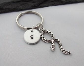Snake Keyring, Initial Snake Keyring, Hand Stamped Keyring, Snake Keychain, Animal keyring, Charm Keyring, Personalised Keyring, Gift,Gifts