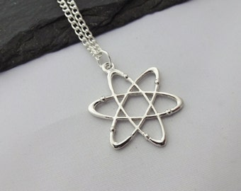 Atom Necklace, Charm Necklace, Science Necklace, Science Gifts, Personalised Necklace, Atom Gift, Geek Gifts, Science Gift, Atom Gifts