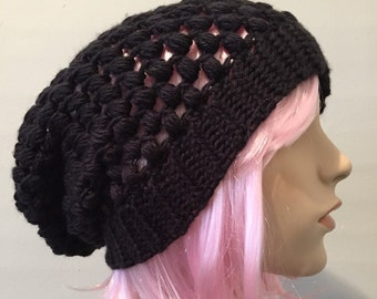 Black beanie // black slouch hat // puff stitch beanie hat // crochet beanie // mens womens // hipster beanie //