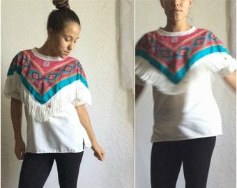 80s White Fringe Southwestern Shirt // Vintage Western Beaded Desert Blouse // Size: M