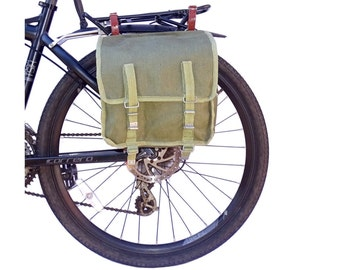 Ex-Army Showerproof Canvas Pannier Bag from 1960/80s vintage green large bike spacious rainproof NOS