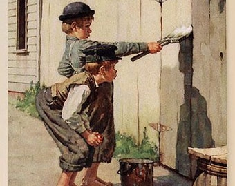 Norman Rockwell Vintage Illustrated of Tom Sawyer Whitewashing a Fence Great Holiday Gift Vintage  Art Decor Collector Perfect For Den,Home!