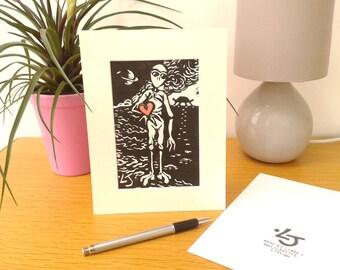 Alien Lino Cut Print, Science Fiction Fantasy Art, Original Linocut Print, Valentine Alien Card, Sci Fi Alien Picture, Love Gift for Him