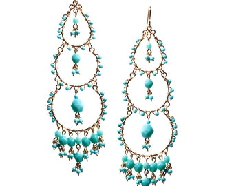 Turquoise Chandelier Earrings // Handmade Beaded Earrings //