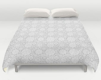 White Duvet Cover, Floral Pattern Duvet, Modern Bedding, White Comforter, Floral Bed Cover, King Queen Full Twin, Size, Flower Duvet Cover