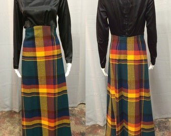 Vintage 1970's Black Satin & Plaid Dress