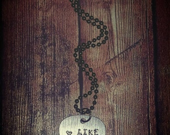 Gunmetal Guitar Pick Love Like Johnny and June Hand Stamped Necklace