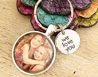Gifts for Dad, Gifts for Him, Husband Gift,  Fathers Day Gift, Custom Photo Keychain, Daddys Little Girls, Picture Keychain, Photo Jewelry