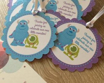 Delightful Monsters Inc Party Favor Tags, Sully, Sulley, Mike Party Favor Tags, Baby