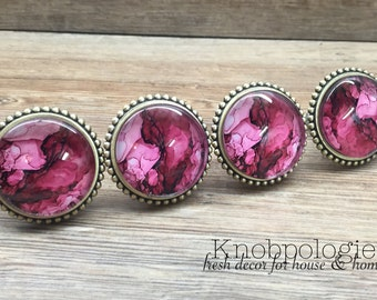 "SET OF 4 - Large 2.25"" Vibrant Fuchsia Pink and White Watercolor Knob with Glass Face - Drawer Knob Pull Cabinet Knob"
