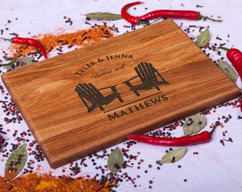 Cutting Board Wedding gift Personalized cutting board Adirondack Chairs Custom Engraved Anniversary Housewarming Retirement gift for Couple