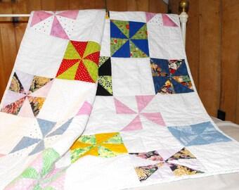 pinwheel quilt, lap quilt, throw, crib quilt, baby gift, handmade quilt, nursery gift, baby blanket,