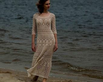Crochet dress PATTERN, Boho crochet lace wedding dress PATTERN Схемы для вязания макси платья, только на русском языке