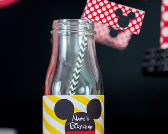 Mickey Mouse Party Drink Labels - Printable Mickey Water Bottle Labels by Printable Studio