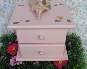 SALE! - Fairy Jewelry Box - Fairy Jewellery Box - Vintage Jewelry Box - Pink Jewelry Box - Jewelry Storage - Girls Jewelry Box