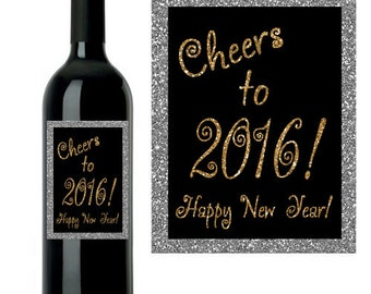 New Year's Wine Label, Custom New Year's Wine Label, Cheers to the New Year, DIY INSTANT DOWNLOAD printable wine label