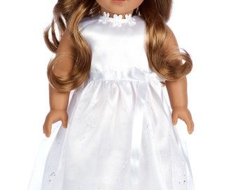 My First Communion - Doll Clothes for 18 inch American Girl Doll - White Satin Dress with matching Headband and White Shoes