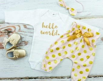 baby girl coming home outfit | Hello World | Baby Take Home Outfit | Pink Pants Newborn Gold Hello World Coming Home complete set