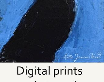 Digital Print - Blackbird Painting - Black Crow Bird - Animal Portrait - Blue - Wildlife Art - 43