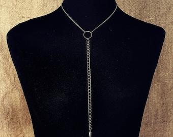 Brass Lariat Minimalist Necklace