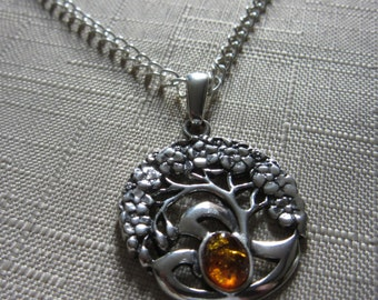 Amber and Silver Tree of life pendant necklace.