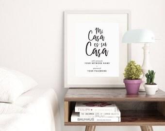 Black and White Mi Casa Es Su Casa Wifi Password Sign Printable Instant Download Wall Art Guest Room