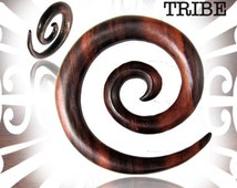 Pair of Sono Wood Super Spirals Plugs Plug Spiral Gauge Gauges Tribal Jewelry Wood 8g, 6g, 2g, 0g, 00g, 1/2 inch Earrings Wicked Tribe