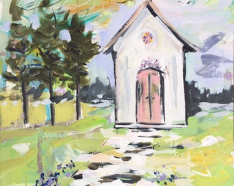 Abstract Church Print, Square, from Texas painting, vintage church