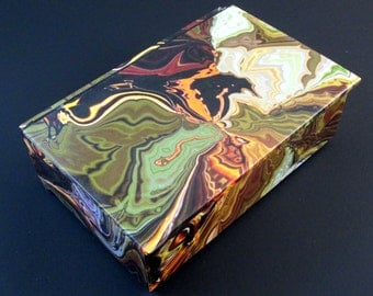 Decorative box, bold swirl black and red marbled paper, keepsake box, memory box, desk box, size 4 x 6 x 1,5 inches, made to order