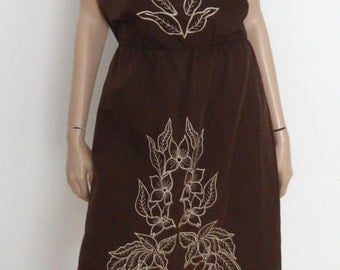 Robe vintage bustier marron broderies taille 38 / size uk 10  - us 6