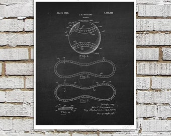 Baseball Patent print #5 black and White Wall Art, Baseball patent print, chalkboard Art, Gift for him, baseball gift Baseball sports decor