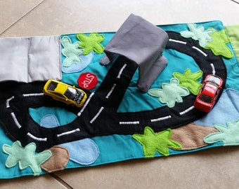 CUSTOM Small Toy Car Travel Mat - Includes cars!
