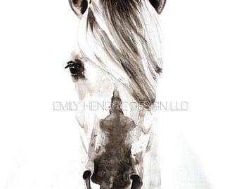 Watercolor Horse Art Print/ Arabian Horse Head Part 2 / Equestrian art / Horse Painting / Horse Art / Farmhouse Art