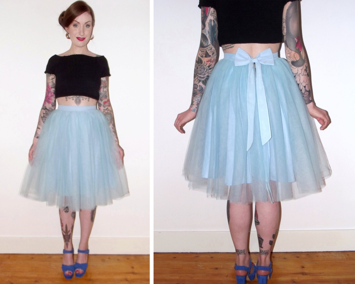 baby blue tulle knee length prom skirt bridal bridesmaid