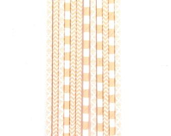 Peach Stripe Chevron Polka Dot Straw With Gold Flag, Paper Straw, Pastel Straw, Straw Flag, Baby Shower or Wedding Straw, Decorative Straw