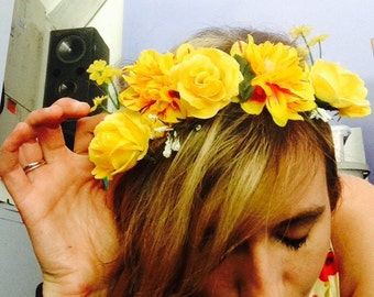 Electric Daisy Carnival Flower Crown - EDC Yellow Custom Rave Wreath
