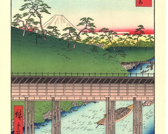 "Woodblock print, Japanese Ukiyoe, Hiroshige, ""Ochanomizu in Edo"", Thirty-six Views of Mount Fuji ."